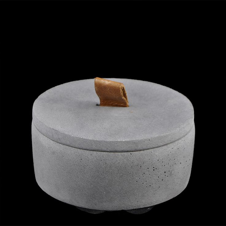 Zakkia Lidded Concrete Jar Line up three for a great design idea or a modern storage idea for your make up, jewellery or anything really
