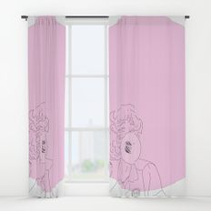 Frenchy Bubblegum Window Curtains