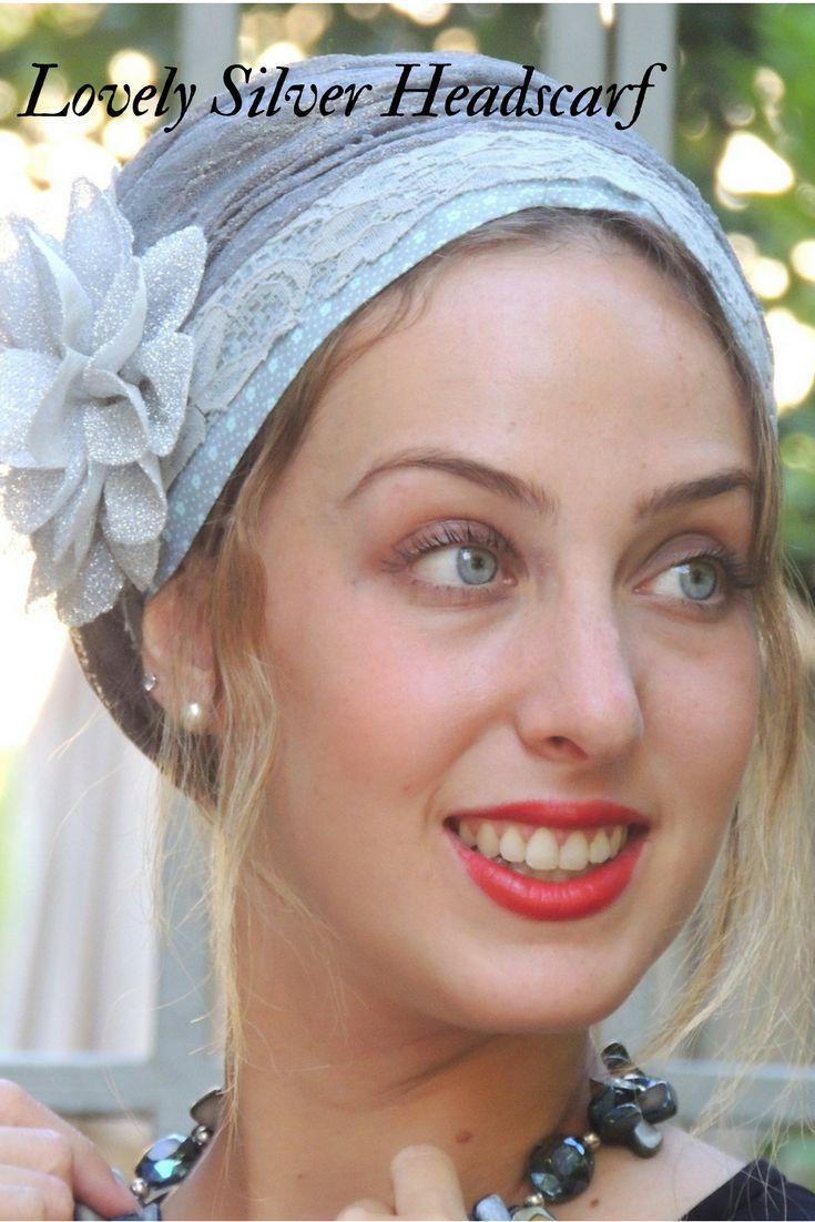 DAFNA Brilliant Silver SCARF, Tichel, Hair Snood, Head Scarf #http://etsy.me/2zUriyC  #accessories #scarf #silver #gray