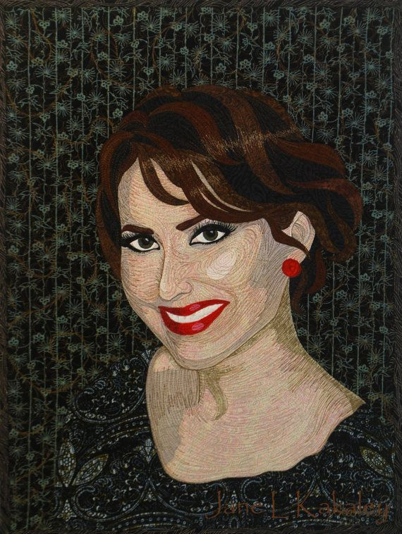 Custom art quilt portrait courtney by jane