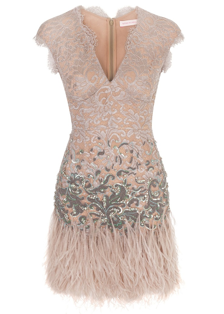 lovely beige short feather dress by mathew williamson - Winter Garden Couture Lace Fitted Dress