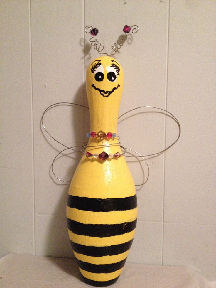 Bowling pin Bee   Would go with the bowling ball critters