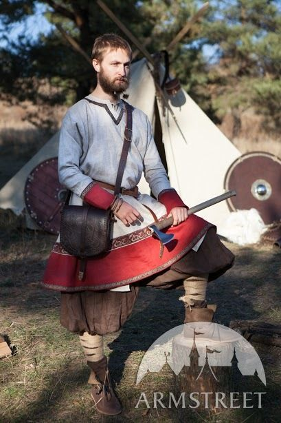 "Medieval Linen Tunic ""Olaf the Hunter"" with trim"