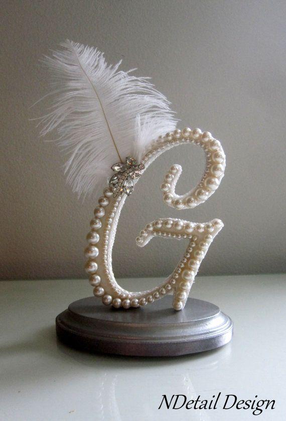 Wedding Cake Topper Custom Letter G Vintage Ivory by NDetailDesign