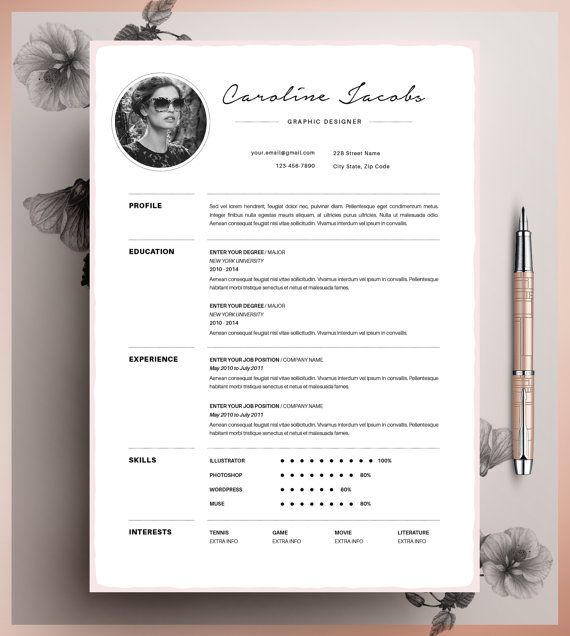 Professional Resume Template, CV Template Editable in MS Word and Pages, Instant Digital Download, Size A4 and US Letter