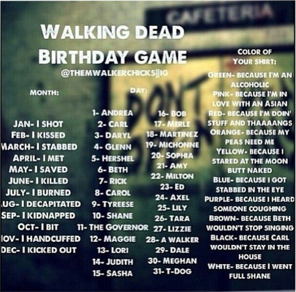 The Walking Dead birthday game - I killed Shane because I got stabbed in the eye