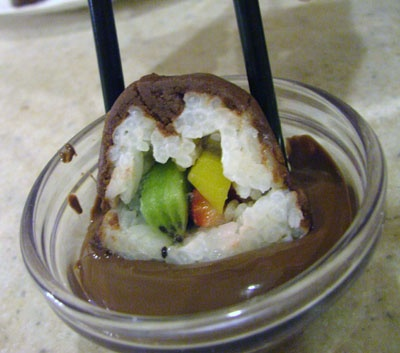 Fruit-filled Coconut & Chocolate Dessert Sushi. Oh. Em. Gee!
