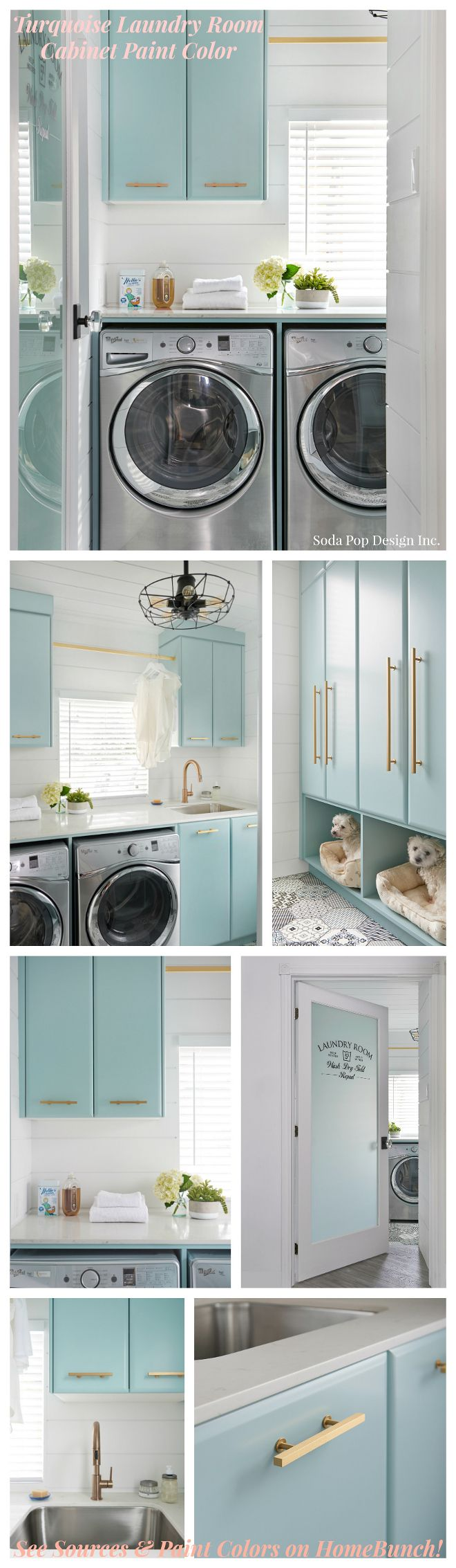 Turquoise Laundry Room Cabinet Paint Color. See Sources and Paint Color on Home Bunch