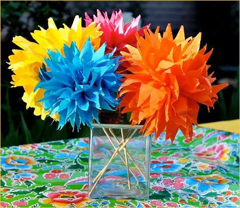 Cinco de Mayo tissue colorful paper flower centerpieces