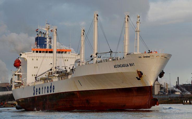 """Buque: """"ACONCAGUA BAY"""". Año de construcción: 1992. IMO: 9019652. DWT: 9.074 Tm. Propietario: Aconcagua Bay Shipping Company B.V., Monrovia. Gerencia: Seatrade Groningen B.V., Groningen. Dimensiones: Eslora 148.5 m. Manga 20.6 m. Calado: 12.80 m. Potencia del motor: 9592 bhp (7060 kW). Velocidad: 17,4 nudos. Identificativo: A8KY9. Bandera: Holanda."""