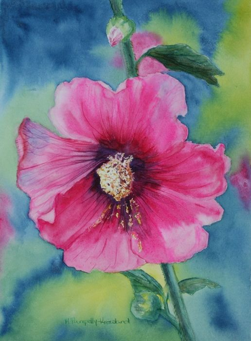 """Hollyhock -11""""x15"""" - Watercolour on paper - by Mary Pumpelly Knowland www.maryknowland.com original sold - prints and cards available"""