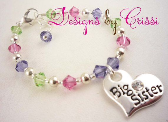 Big sister/little sister bracelet with birthstone. So cute for a sibling or sister, or even a family/friendship bracelet with different words.