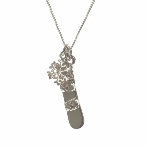 How will you find SERENITY this holiday season? Perhaps a few snowboard laps up #Whistler mountain will do the trick!   ...  A sterling #silver #snowboard and a sterling silver #snowflake both on an 18″ sterling silver chain.