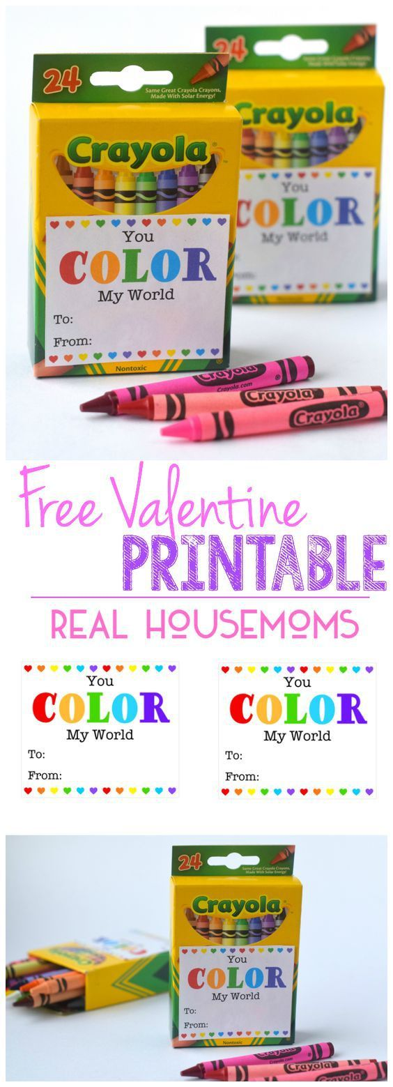 This super cute FREE PRINTABLE VALENTINE via Real Housemoms makes creating Valentine's for a class a snap! Some boxes of crayons, some scissors and you're done!