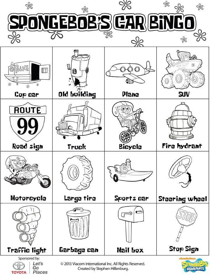spongebob�s car bingo spongebob pinterest bingo