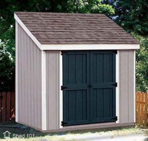 Trash bin shed plans woodworking projects plans for Slant roof shed plans