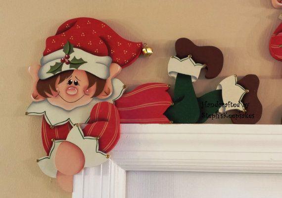Hand painted Holiday Elf Door Hanger Door by stephskeepsakes, $22.95