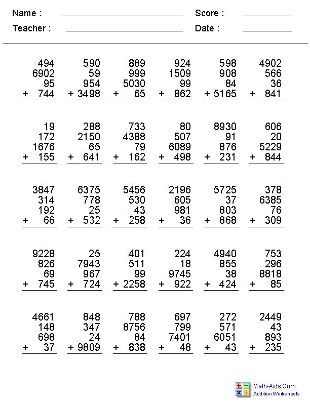 2, 3, or 4 Addends with 1, 2, 3, or 4 Digits Worksheets