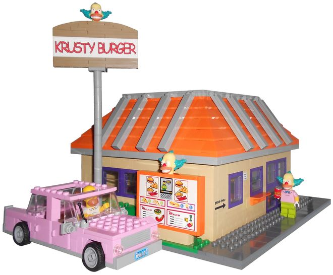 LEGO Ideas - The Simpsons Krusty Burger with the Pink Sedan of Homer Simpson