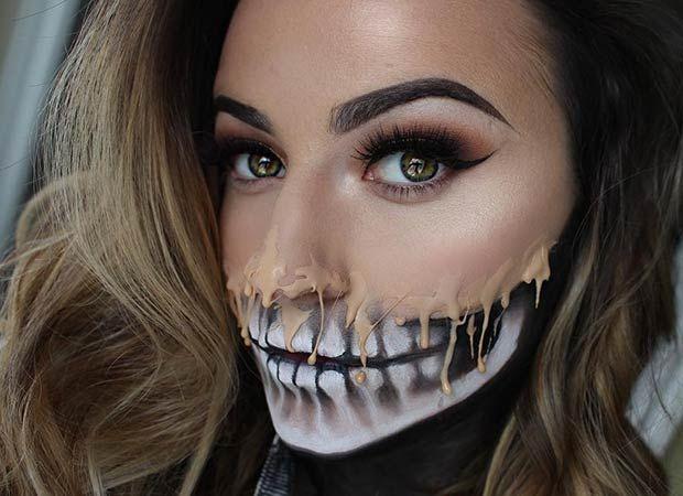Amazing Melting Half Face Skeleton Makeup for Halloween