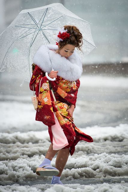 "Japanese Kimono    Coming of Age day ""Seijin no hi 20years old, Jan 15"" under the snow in Tokyo Japan"