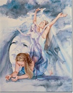 A portrayal of a timeless discovery of mourning to dancing, introspection to inspiration is captured in this overlapping, multi-image watercolor by Marybeth Stafford.