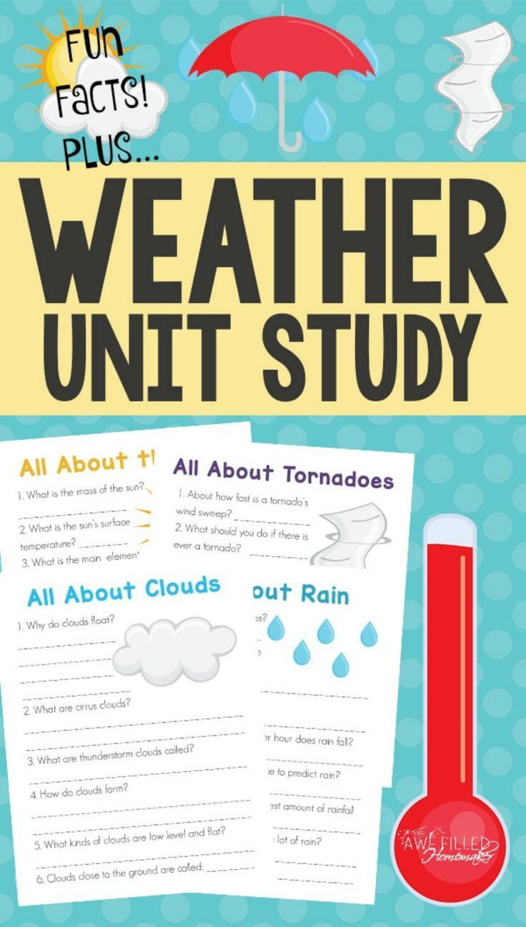 Learning about the weather can be fun! I have found that breaking things down sometimes into smaller unit studies can really help a child to understand a particular subject. I am excited so share this weather unit study with you!  via /AFHomemaker/