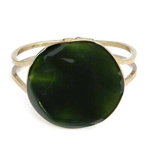 OOPS, COULD BE GONE!  BE IN A HURRY!  Bracelet Made In Metal And Enamel #MEGADEALS  Exquisite bracelet well made in yellow base metal and green enamel. Total item weight 53.7g. Length 7 inch.