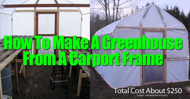 "Adding a greenhouse to your backyard does not need to be a costly, time consuming venture running into the 1,000′s of dollars. Here is a tutorial where they took a standard carport frame that lost it's cover and turned it into a wonderful greenhouse for about $250. ""This was a standard 10'X20' Costco carport that …"