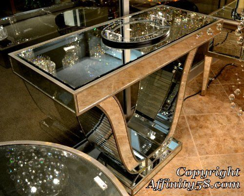 Bethel International Mirrored Art Deco U Shape Rectangular Entry Console Table with Crystal Detail by Bethelin. $1799.00. Underside 5-Step Silver Leaf Process. Crystal Detail inside & out on U Shaped Stand. All Surfaces Mirrored. Beech & Mirror. Classic Art Deco Design. This Design is exclusive to Bethel International. It's construction is solid, the design, unique.