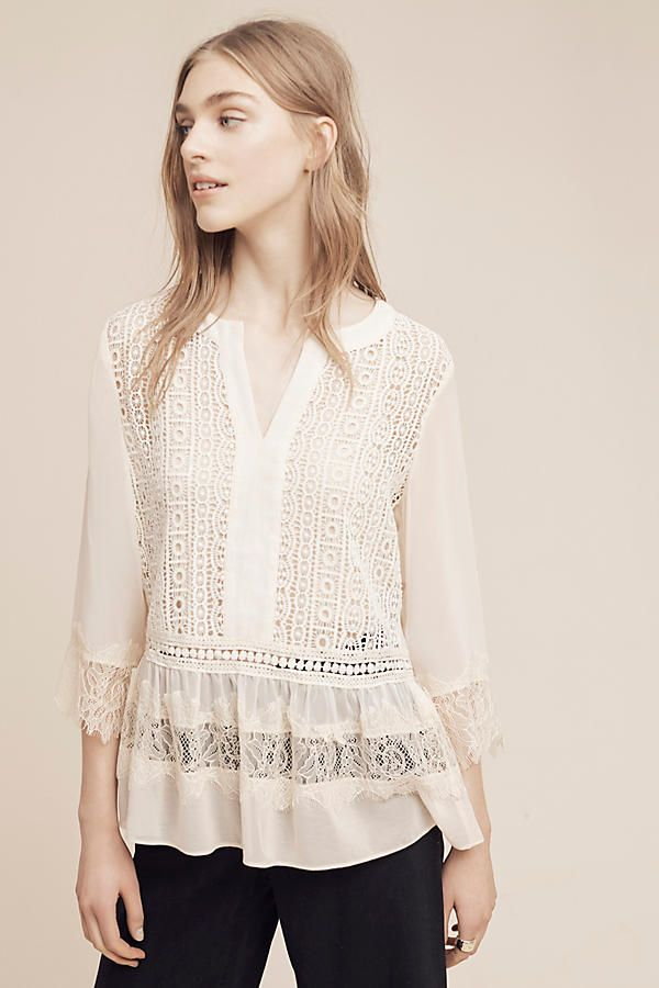 Slide View: 1: Laced Henley Blouse