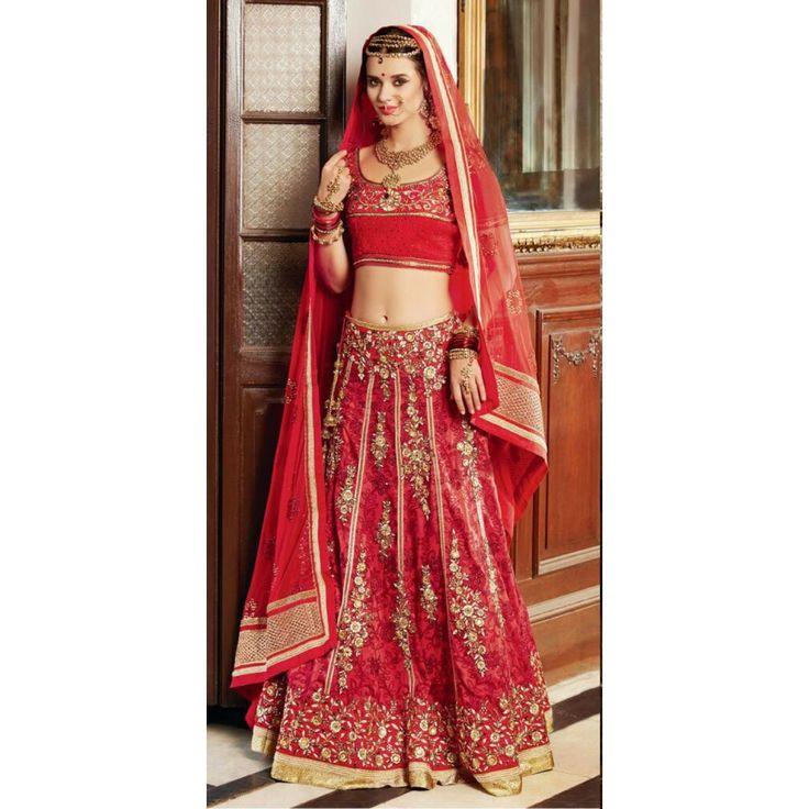 Semi-Stitched Modern Red Bridal Lehenga Material : Blouse-Banarasi Jacquard,Ghahra-Banarasi Silk ,Duppatta-Premium Net Colour : Red Nature of Work : Aari Work,Gold,Zari Work,Embroid