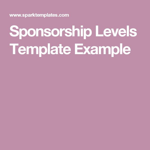 Sponsorship Levels Template Example