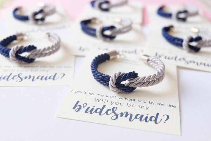 Asking bridesmaid - tie the knot bracelet - navy blue gray wedding - nautical knotted rope bracelet - will you be my bridesmaid bracelet by ElbrazaShop on Etsy https://www.etsy.com/listing/240477324/asking-bridesmaid-tie-the-knot-bracelet
