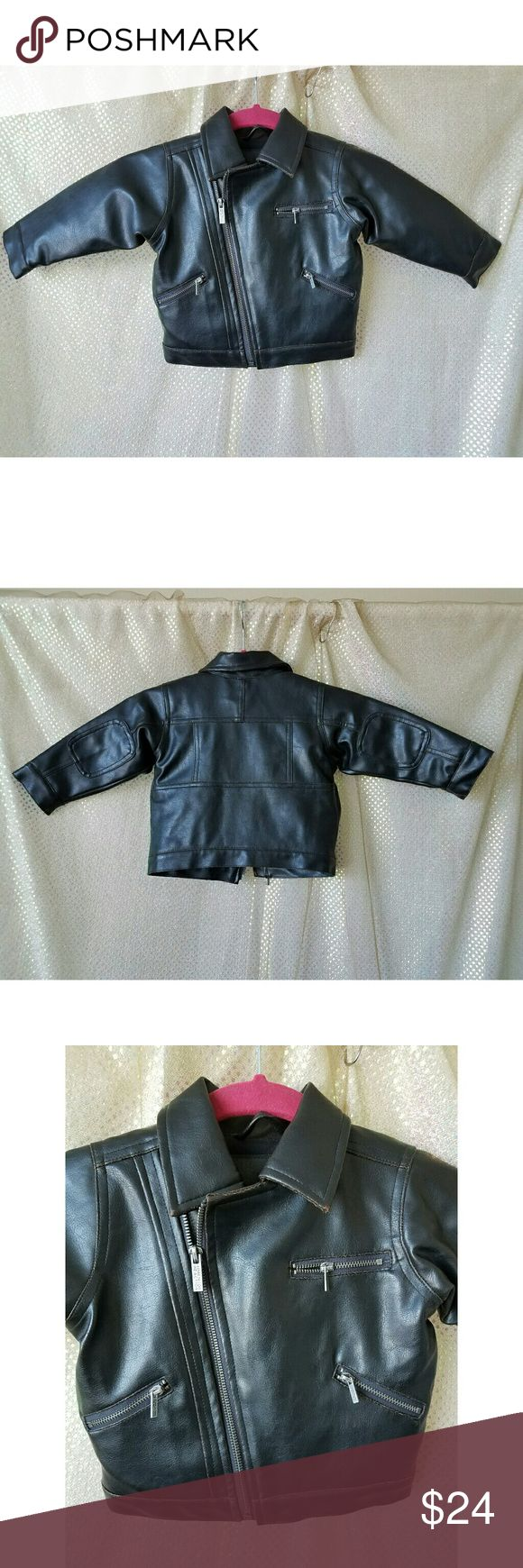 Boys leather jacket Kenneth Cole Reaction size 18m Kenneth Cole Reaction baby boys dark brown faux leather jacket, size 18 months. Your little guy will be styling in this jacket! Sideways zip. Wear/rubbing on leather throughout but tons of life left. Refer to pic #4 Kenneth Cole Reaction Jackets & Coats