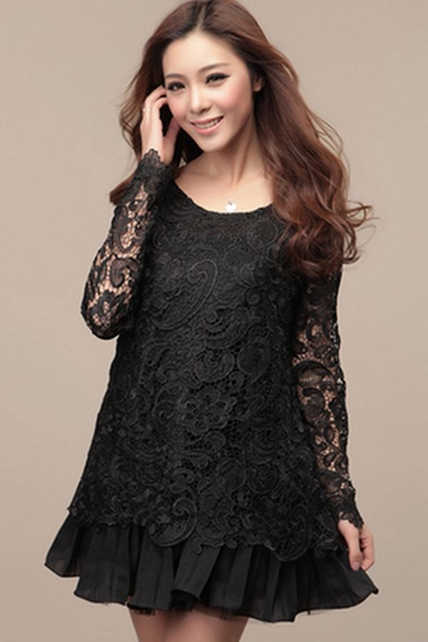 Sweet Lace Overlay Dress - OASAP.com