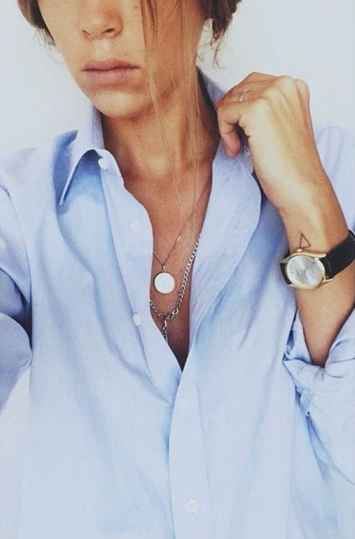 Classic Button Down ShirtStyle, Men Shirts, Layered Necklaces, Blue Shirts, Fashion Blog, Buttons, Accessories, Watches, Oxfords Shirts