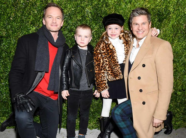 Neil Patrick Harris, Gideon Scott Burtka-Harris, Harper Grace Burtka-Harris & David Burtka from The Big Picture: Today's Hot Photos  Family fun! The adorable group poses during the Once Upon a Holiday windows and light show in NYC.