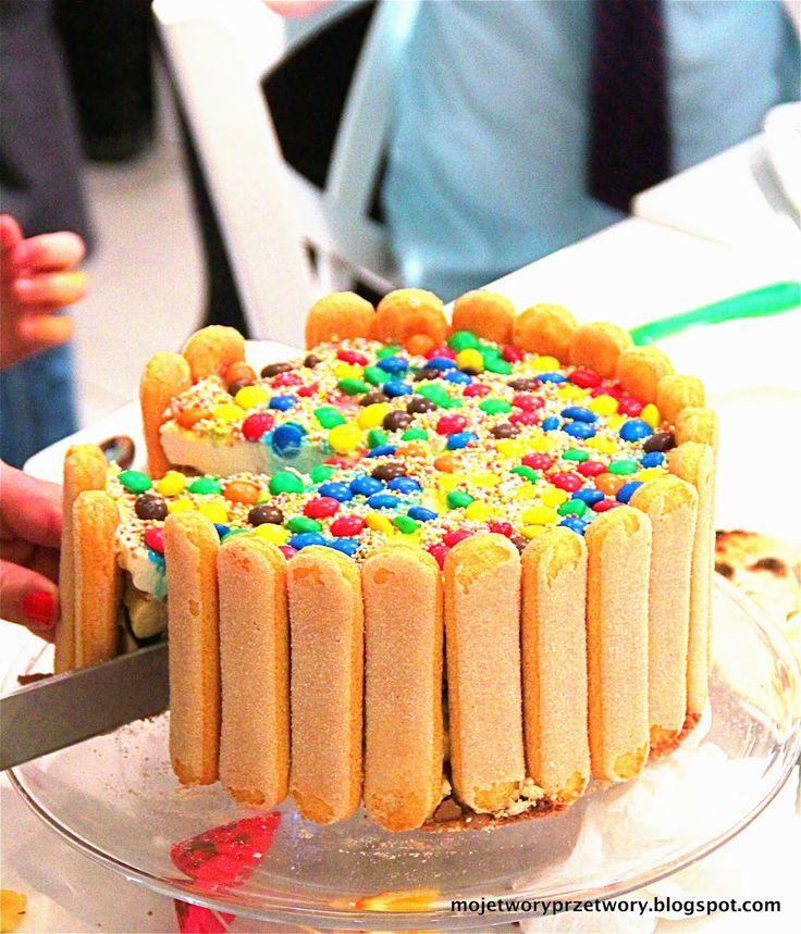 Tort urodzinowy Iskierki - bez pieczenia! Oreo, knoppers, m&m-sy - http://www.mytaste.pl/r/tort-urodzinowy-iskierki---bez-pieczenia-oreo--knoppers--mm-sy-30476691.html