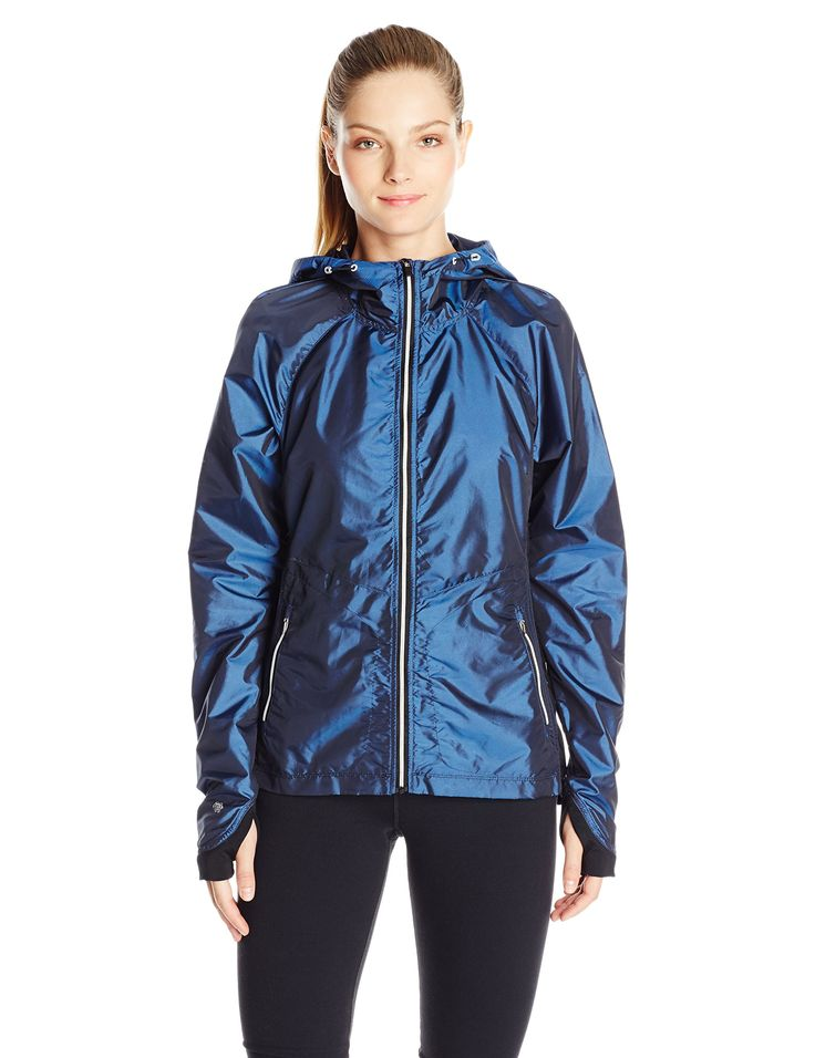Nanette Lepore Play Women's Ripstop and Compression Knit Windbreaker, Iridescent Blue, Small. Light weight packable jacket for easy travel. Hooded jacket. Light weight.