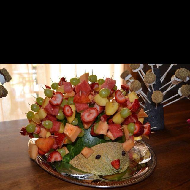 Porcupine fruit kabob display