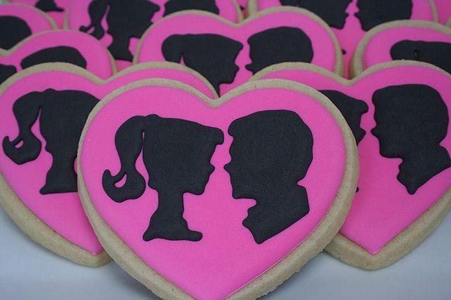 barbie bridal shower   barbie and ken silhouette cookies for a coed bridal shower barbie and ...