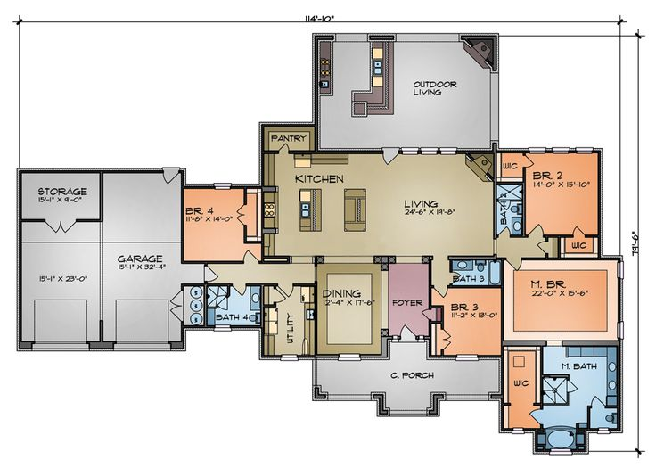 floor plan - Sierra U Shaped House Plans
