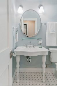 Blue gray bathroom paint color. The wall paint is from Dunn-Edwards Paints…