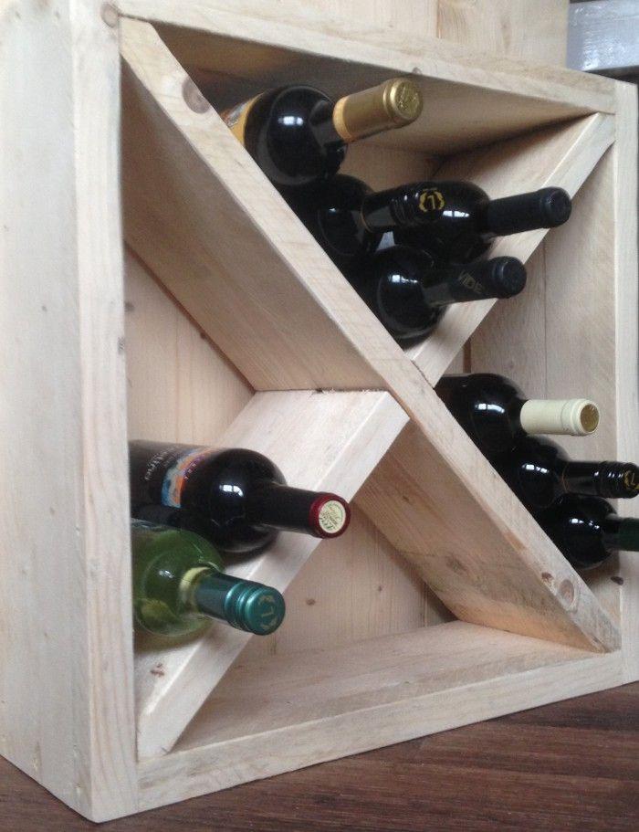 Steigerhouten Wijnrek 55x55x20cm ruimte voor 24 flessen