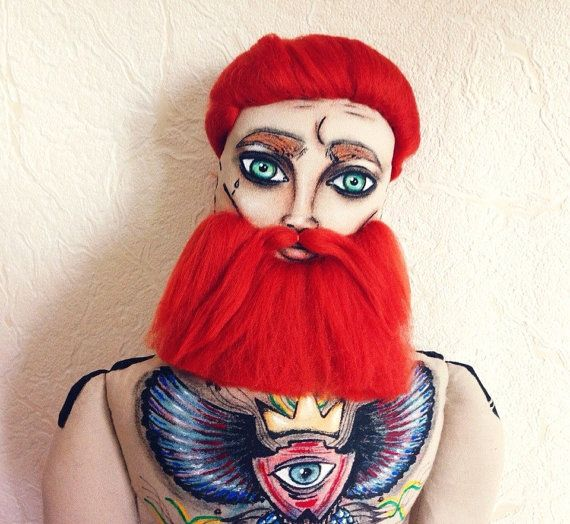 Ginger Beard Doll with Tattoo, Textile Doll, interior doll RockandDolls, $100.00