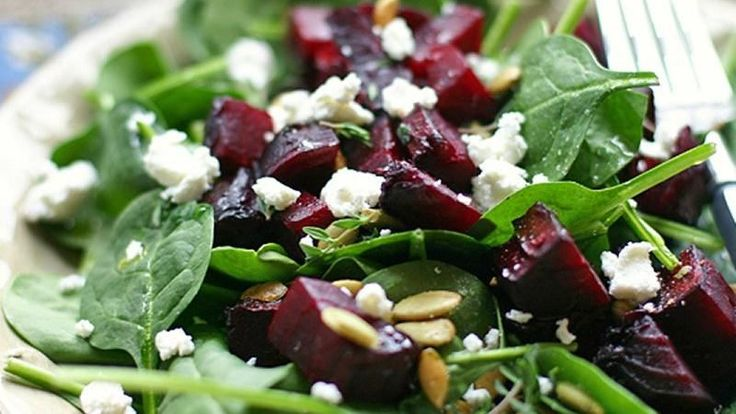 The flavors of tender roasted beets are enhanced thanks to the subtle bite of goat cheese and a drizzling of balsamic dressing. I made this last night and warmed the beets and spinach in a frying pan with some onions. Then added feta and used balsamic crema. Delicious.