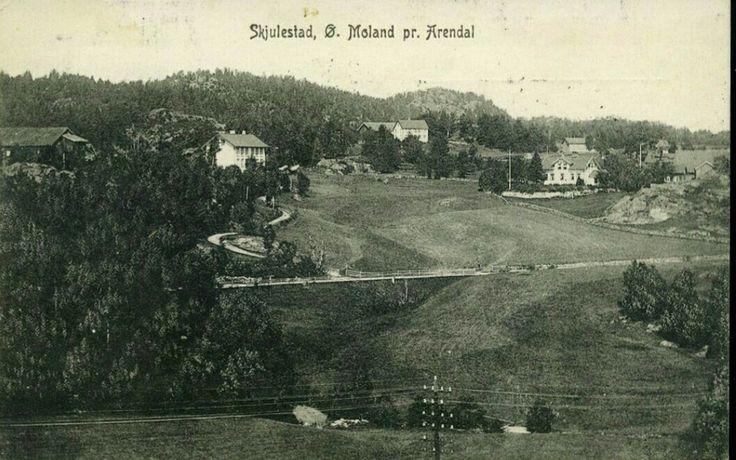 Aust-Agder fylke Arendal kommune SKJULESTAD. Ø. Moland pr. Arendal. Med noen gårder Utg P. M. Danielsen. Brukt 1900