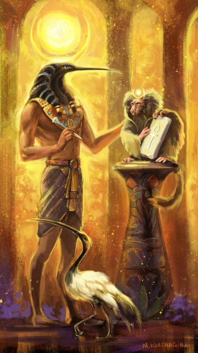 Thoth by sans-art.deviantart.com on @DeviantArt...Depicted here with 2 of his totems