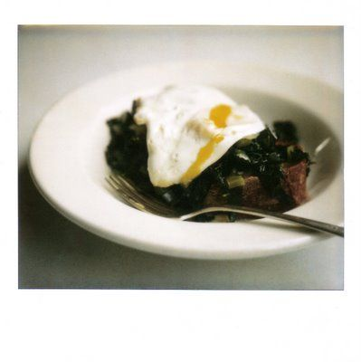 kale and a runny egg.  i think i know what dinner is going to be.